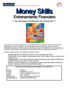 Money Skills Poster SPANISH  ENTRENAMIENTO FINANCIERO