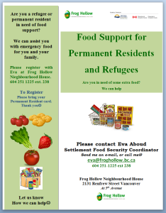 Food Support for Permanent Residents and Refugees