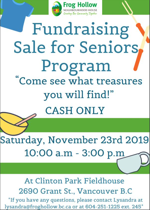 Fundraising Sale for Seniors Programs